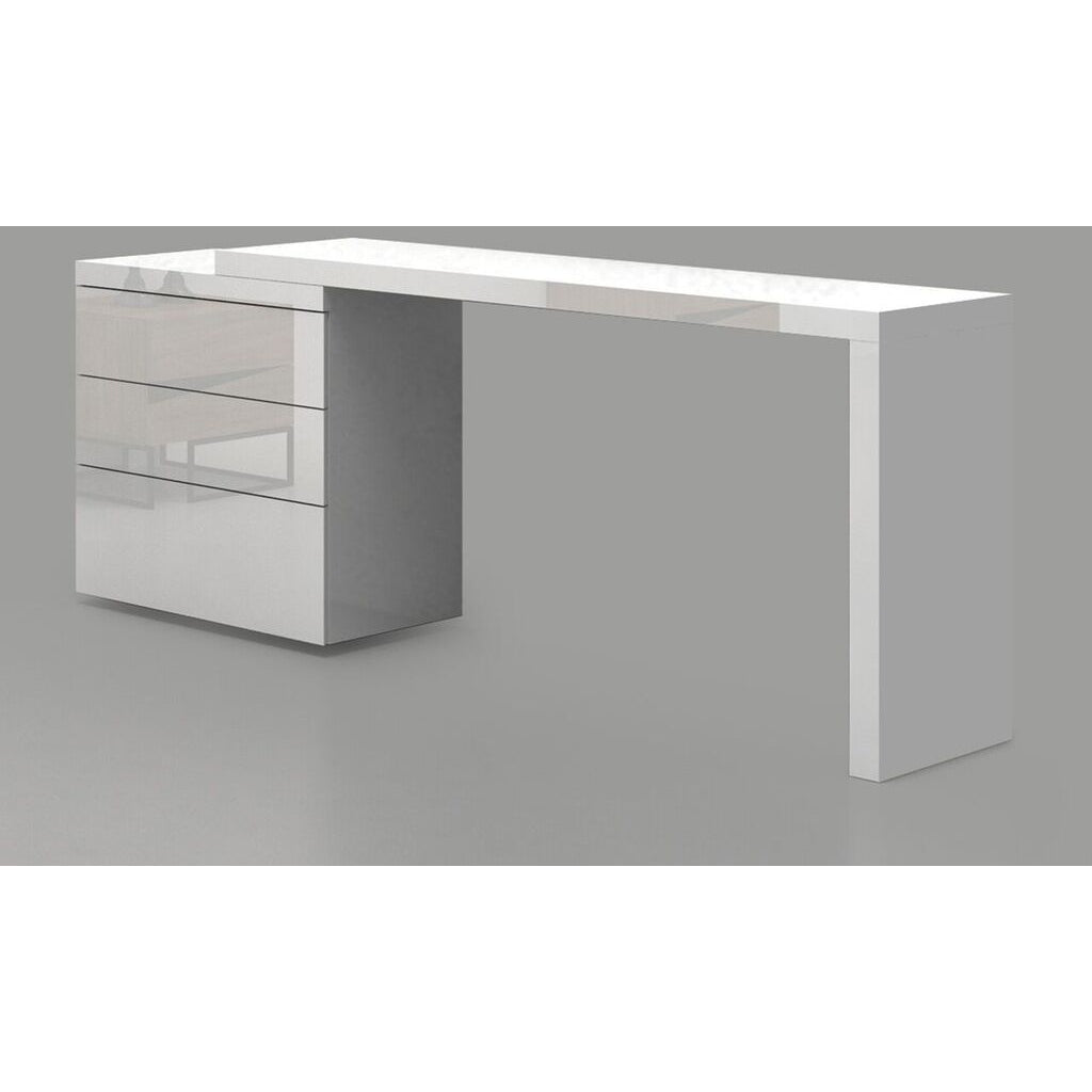 NEST Collection High Gloss White Lacquer Extendable Office Desk