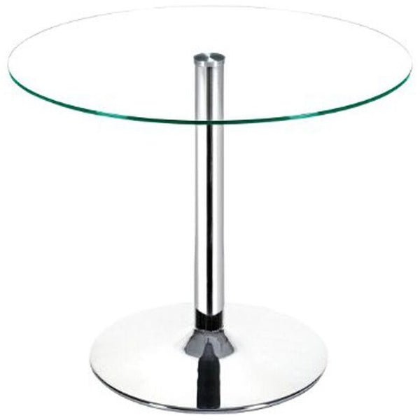 FORTE Collection Chrome / Clear Glass  Dining Table by Casabianca Home - Pankour
