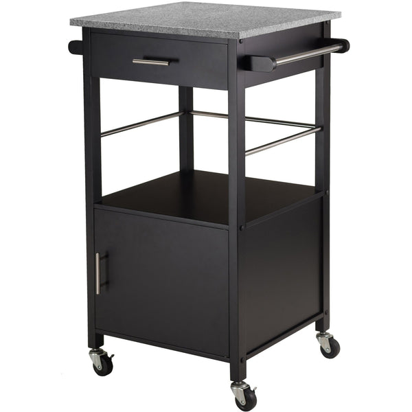 Davenport Kitchen Cart 20023 with Granite Top Black - Pankour