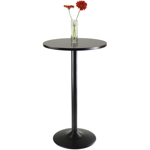 Pub Table Round Black MDF Top with Black leg and base - Pankour