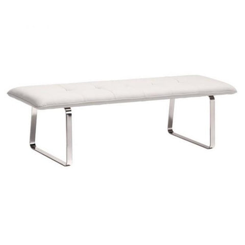 ZUO Modern Cartierville Bench White 500178 Dining,Bedroom Benches