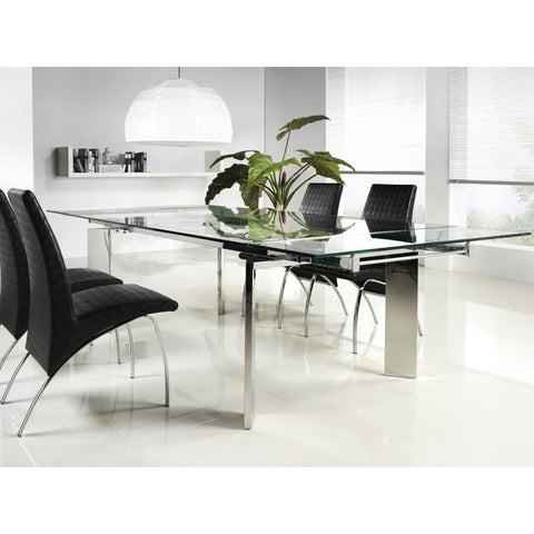 Casabianca Collection Chrome Clear Glass Extendable Cb-095 Dining Table - Pankour