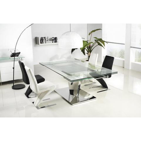 Casabianca Diamond Stainless Steel Expandable CB-123C Dining Table - Pankour