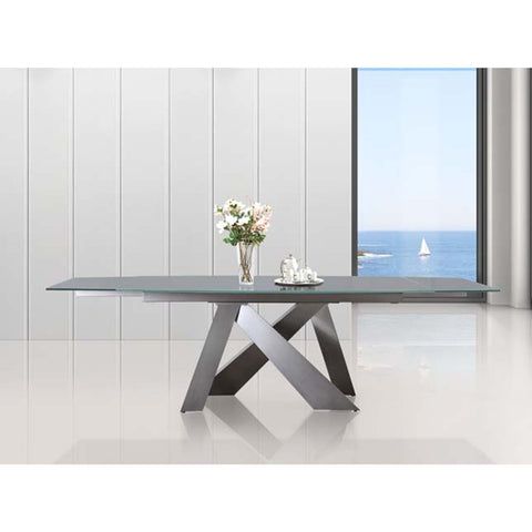 Casabianca Home ZARA Collection Titanium Base / Light Gray Glass  Extendable CB-316DT Dining Table - Pankour