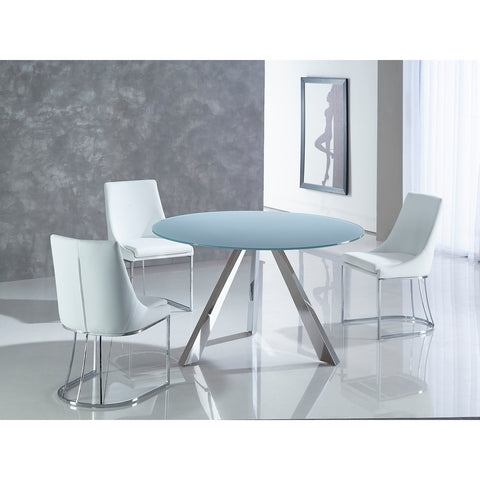 MONDRIAN Collection Stainless Steel Base / Gray Finish Glass Dining Table CB-362S by Casabianca Home - Pankour