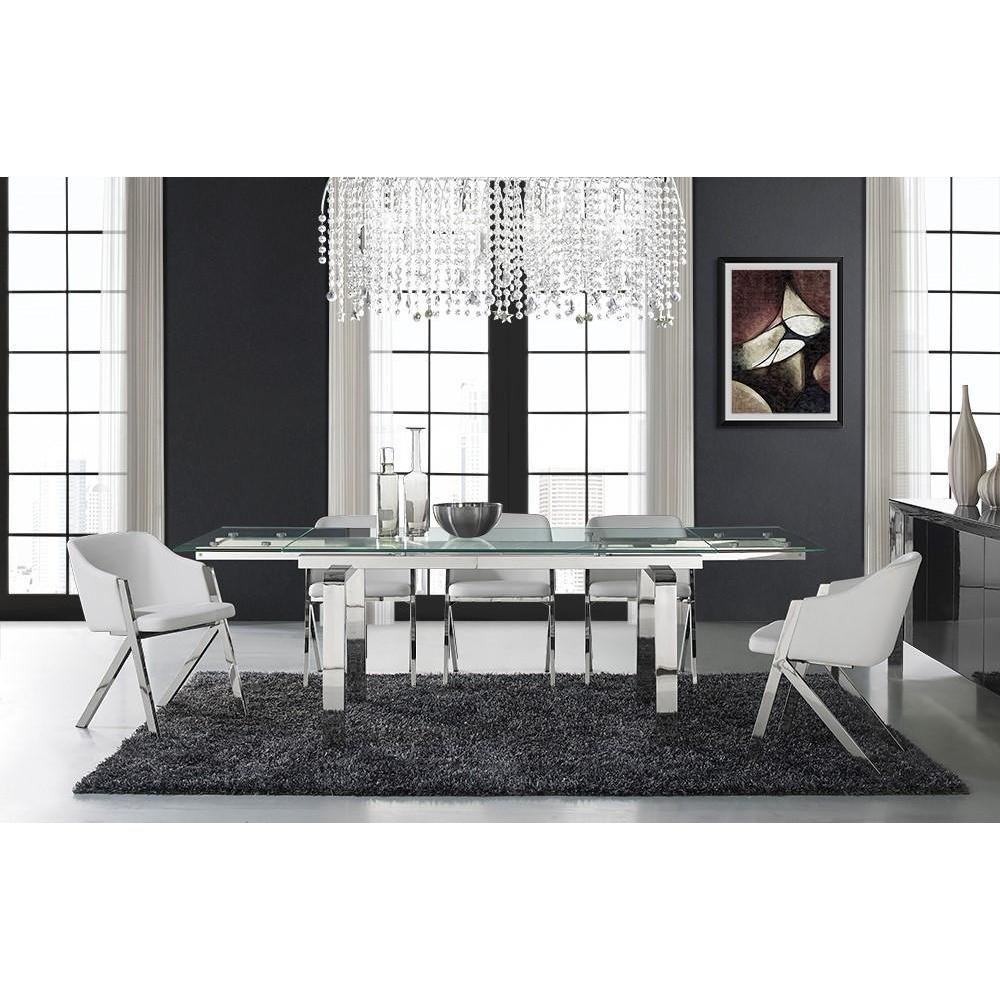 Casabianca Cloud Collection Stainless Steel Extendable CB D2048 SS Dining Table