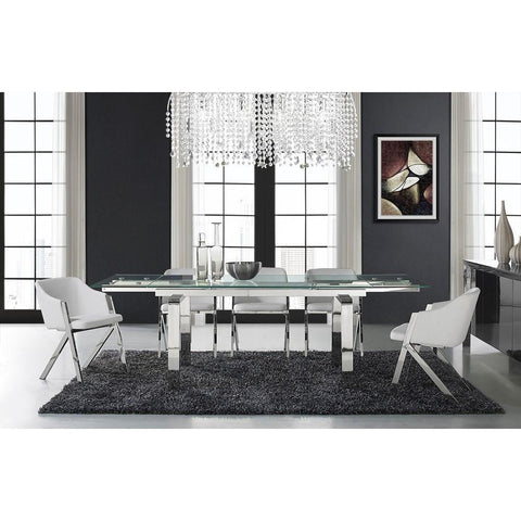 Casabianca Cloud Collection Stainless Steel Extendable CB-D2048-SS Dining Table - Pankour