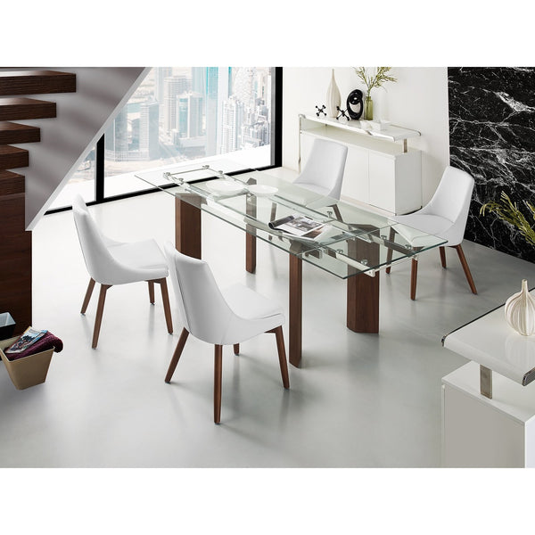 TORINO Collection Walnut Veneer Tempered Glass  Extendable Dining Table CB-D2048-WAL - Pankour