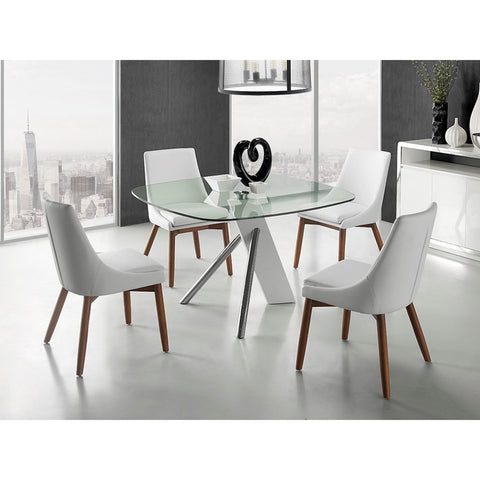 Casabianca Home URBAN Collection High Gloss White Lacquer  CB-F2170 Dining Table - Pankour