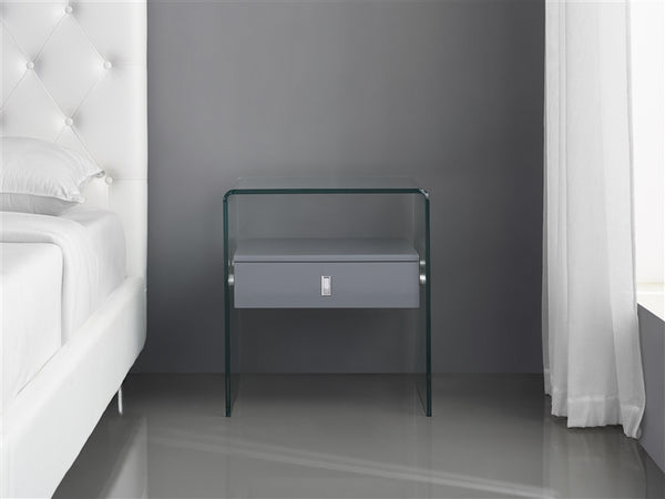 Casabianca Home BARI CB-J052-GRAY Nightstand / End Table High Gloss Gray Lacquer - Pankour