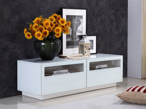 Casabianca Home CORTE TC-0180-WH Entertainment Center High Gloss White Lacquer - Pankour