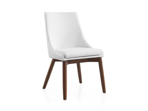 Casabianca Home CREEK CB-F3185-WWAL Dining Chair White Eco-Leather/Walnut Legs - Pankour