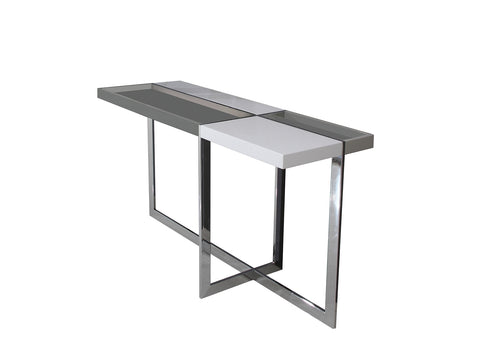 Casabianca Home DOMINO TC-2605 Console Table High Gloss White Lacquer - Pankour