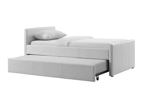 Casabianca Home DUETTE CB-14BD-XL Twin Bed White Eco-Leather - Pankour
