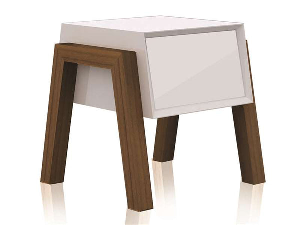 Casabianca Home FIGO CB-3937-White Nightstand / End Table High Gloss White Lacquer - Pankour