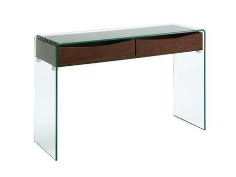 Casabianca Home IBIZA CB-020-CONSOLE-WAL Console Table Walnut Veneer w  Glass - Pankour