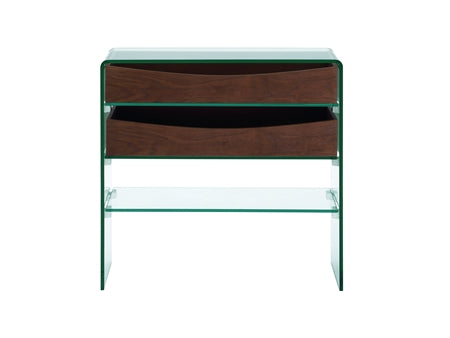 Casabianca Home IBIZA CB-021-2DR-WAL Console Table Walnut Veneer w  Glass - Pankour