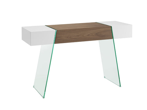 Casabianca Home IL VETRO CABANA CB-111-DR-CONSOLE-WH-WAL Console Table High Gloss White / Walnut Veneer - Pankour