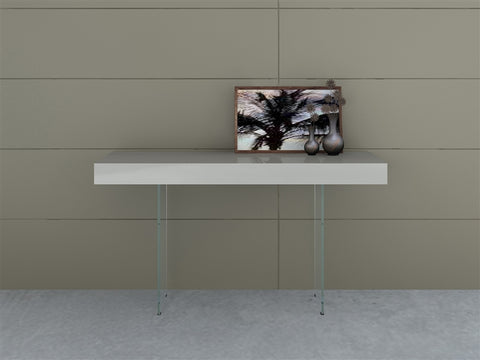 Casabianca Home IL VETRO CB-111-G-CONSOLE Console Table High Gloss Gray Lacquer - Pankour