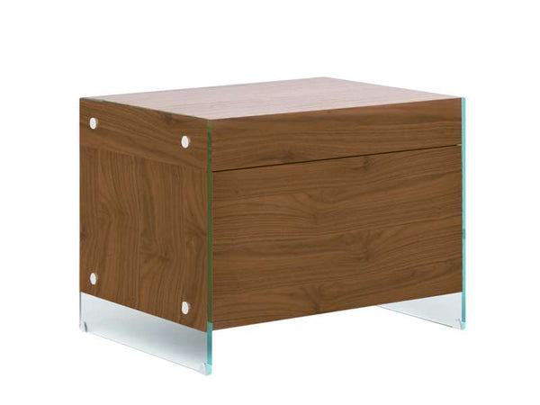 Casabianca Home IL VETRO CB-111-N-WA Nightstand / End Table Walnut Veneer - Pankour