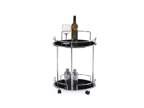 Casabianca Home OLBIA CB-D51Cart Bar Cart Chrome / Black Glass - Pankour