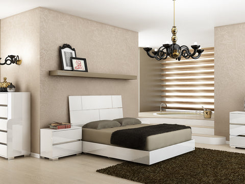 Casabianca Home PISA TC-9002-KW King Bed White Lacquer & Stainless Steel - Pankour