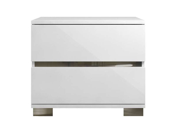 Casabianca Home SPARK TC-9003-NS-WH Nightstand / End Table High Gloss White Lacquer / Stainless Steel - Pankour