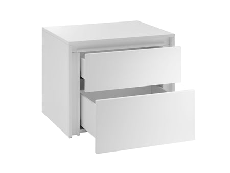 Casabianca Home ZEN CB-1104-N-WH Nightstand/ End Table High Gloss White Lacquer - Pankour