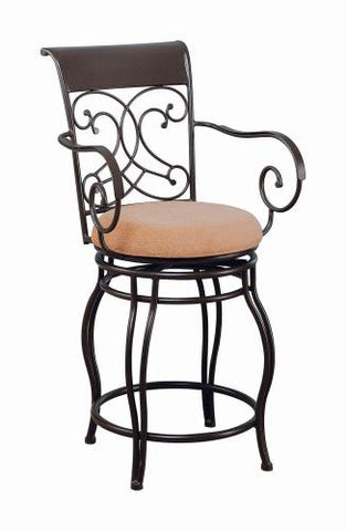 Coaster Furniture BAR STOOLS: METAL SWIVEL 120020 COUNTER HT CHAIR BROWN - Pankour