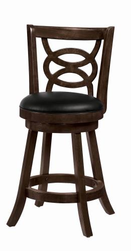 Coaster Furniture BAR STOOLS: WOOD SWIVEL 101929 COUNTER HT STOOL BLACK & ESPRESSO - Pankour