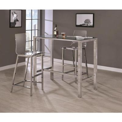 Coaster Furniture BAR TABLES: CHROME/ CLEAR GLASS 104873 BAR TABLE - Pankour