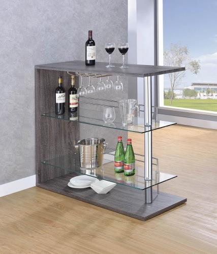 Coaster Furniture 100156 BAR TABLE WEATHERED GREY & CHROME - Pankour