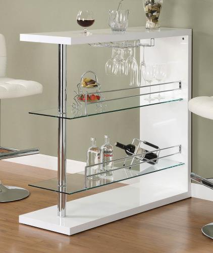 Coaster Furniture BAR UNITS: CONTEMPORARY 100167 BAR TABLE GLOSSY WHITE & CHROME - Pankour