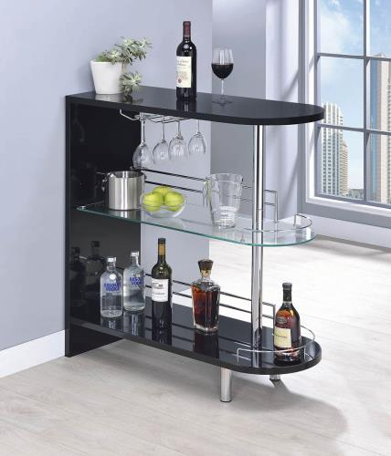 Coaster Furniture BAR UNITS: CONTEMPORARY 101063 BAR TABLE GLOSSY BLACK - Pankour