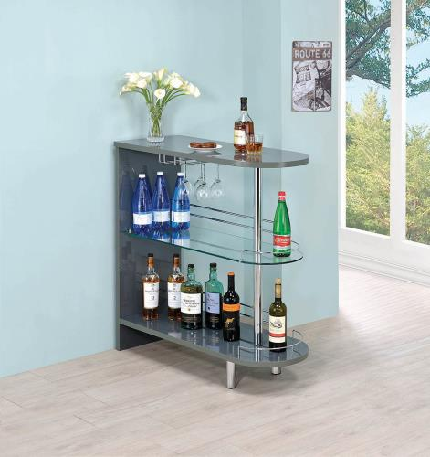 Coaster Furniture BAR UNITS: CONTEMPORARY 101073 BAR TABLE GLOSSY GREY - Pankour