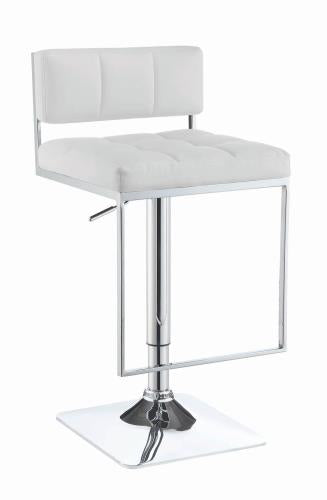 Coaster Furniture REC ROOM/BAR STOOLS: HEIGHT ADJUSTABLE 100193 BAR STOOL WHITE & CHROME - Pankour