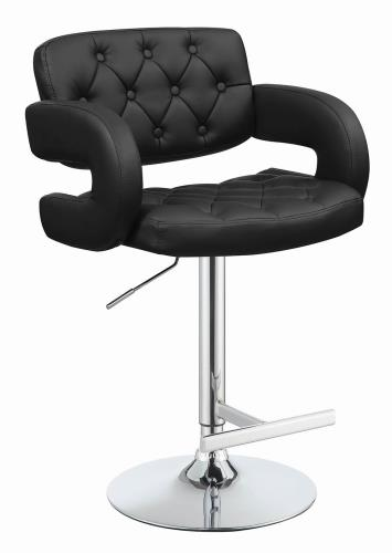 Coaster Furniture REC ROOM/BAR STOOLS: HEIGHT ADJUSTABLE 102555 ADJUSTABLE BAR STOOL BLACK & CHROME - Pankour