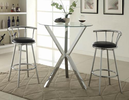 Coaster Furniture REC ROOM/ BAR TABLES: CHROME/GLASS 100186 BAR TABLE CHROME - Pankour