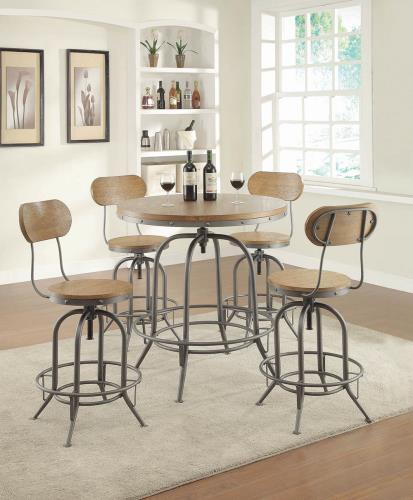 Coaster Furniture RUSTIC/INDUSTRIAL Round Table 122097 Bar Table Brown, GRAPHITE, WEATHERED OAK - Pankour