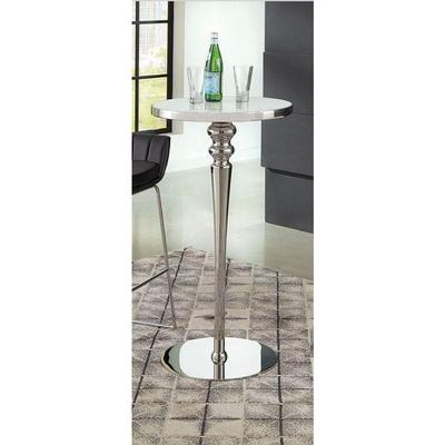 Coaster Furniture Round 182031 Bar Table STAINLESS STEEL/ WHITE - Pankour