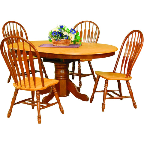 Sunset Trading 5pc DLU-TBX4266-4130-NLO5PC Pedestal Dining Set - Pankour