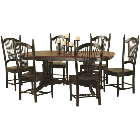 Sunset Trading 7pc Double Pedestal Trestle Butterfly Leaf Dining Set - Pankour