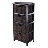 Winsome Wood 20418 Omaha Storage Rack with Fold-able Baskets