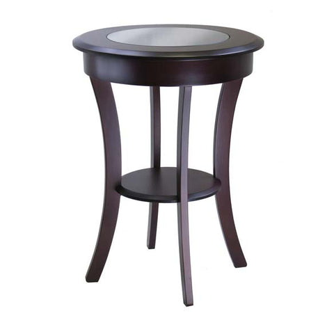Winsome Wood 40019 Cassie Round Accent Table with Glass