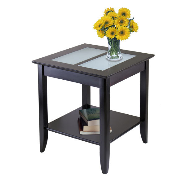 Winsome Wood 92122 Syrah End Table with Frosted Glass