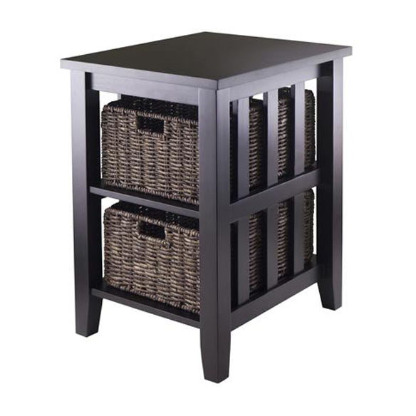 Winsome Wood 92312 Morris Side Table with Fold-able Baskets