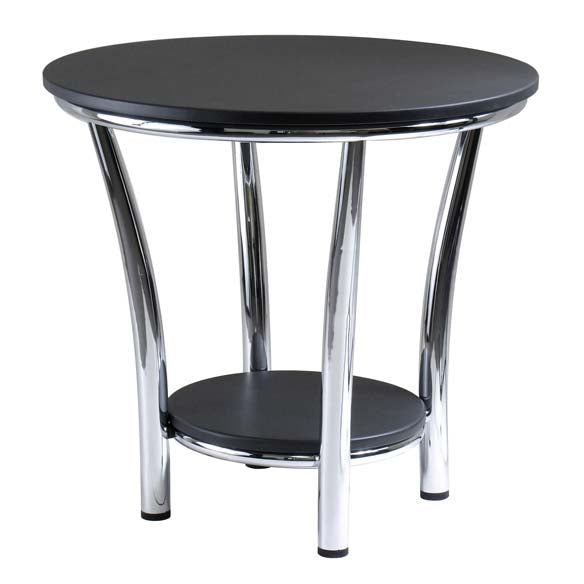 Winsome Wood 93219 Maya Round End Table, Black Top, Metal Legs