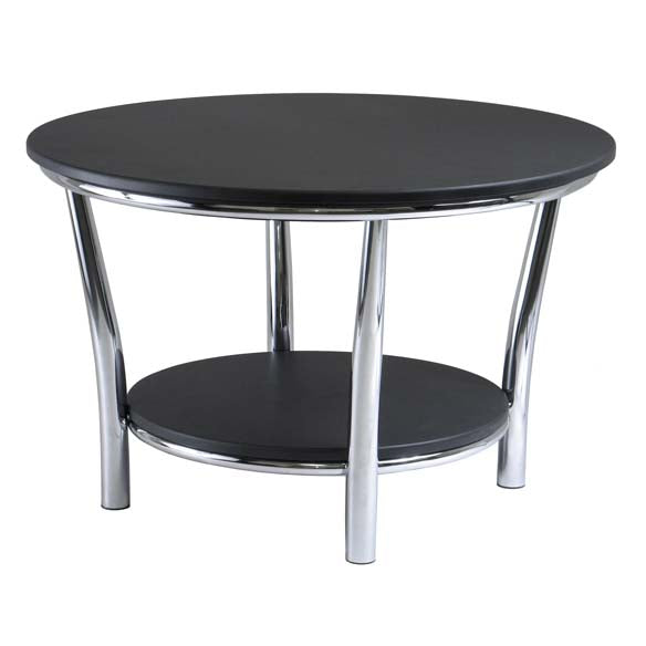 Winsome Wood 93230 Maya Round End Table, Black Top, Metal Legs