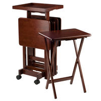 Winsome Wood 94828 6-PC Snack Table Set Walnut