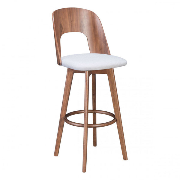 ZUO Modern Anton 101020 Barstool Walnut & Light Gray - Pankour